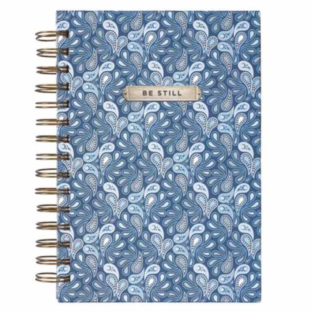 Journal: Be Still, Blue Paisley Spiral
