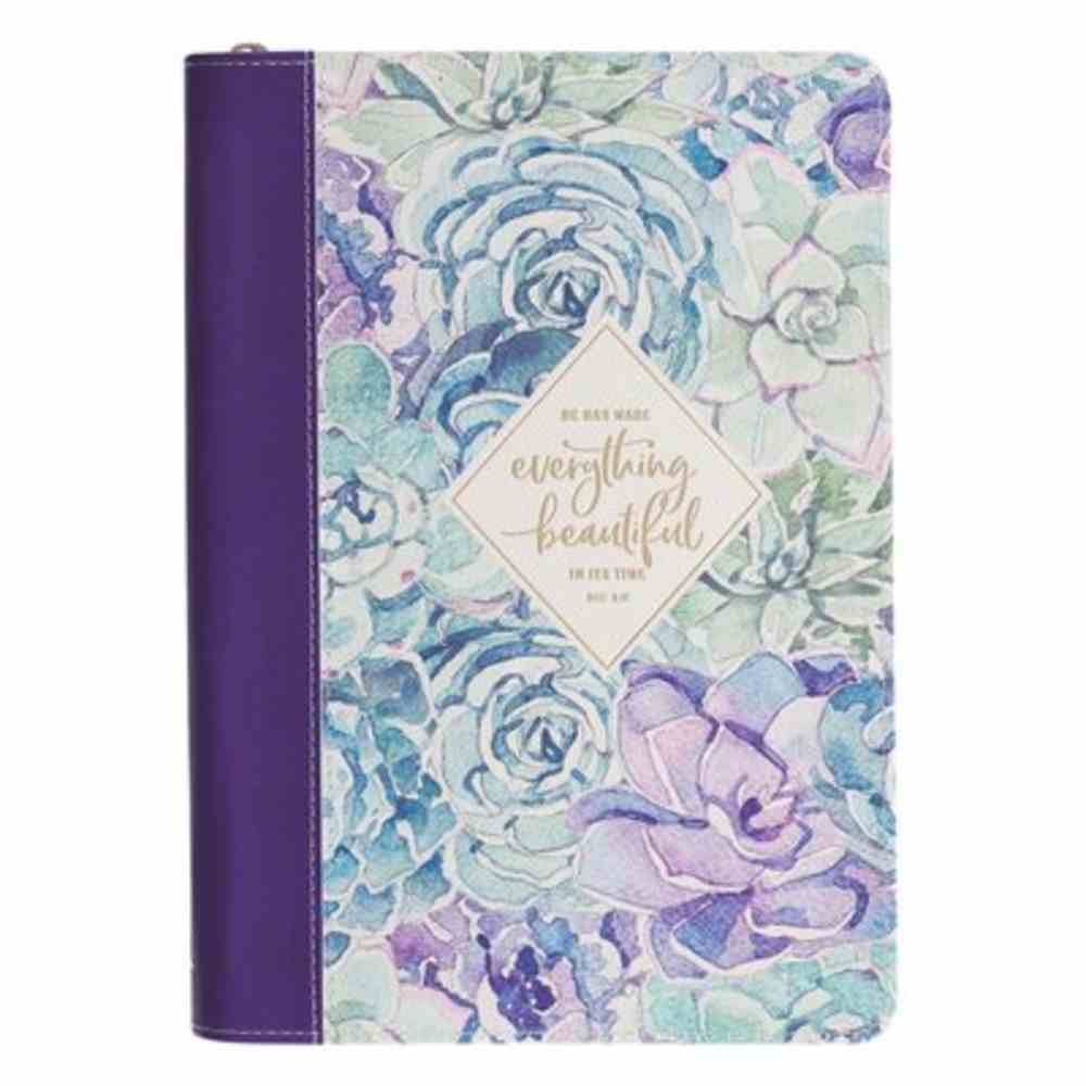 Journal With Zip Closure: Everything Beautiful in Its Time, Purple Floral Imitation Leather