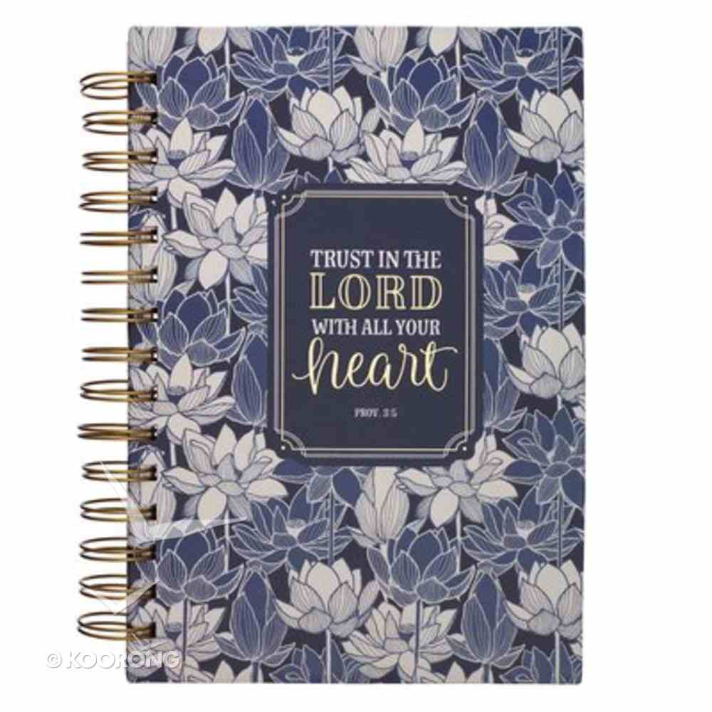 Journal: Trust in the Lord, Navy Floral Spiral