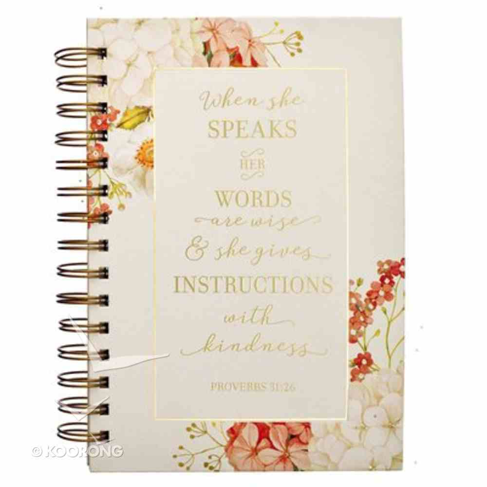 Journal White and Peach Floral (Proverbs 31: 26) (When She Speaks Collection) Spiral