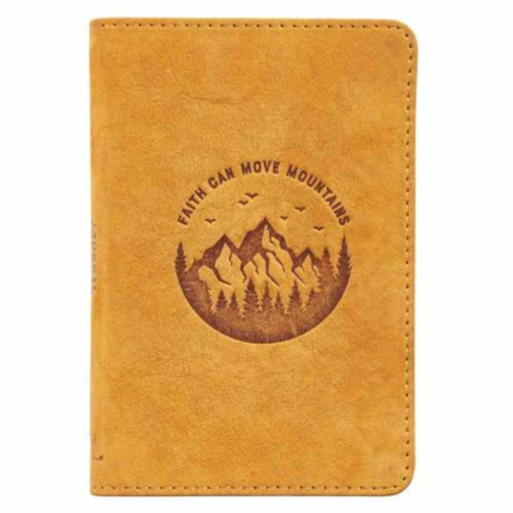 Journal: Genuine Leather Pocket-Sized Journal, Faith Can Move Mountains Genuine Leather