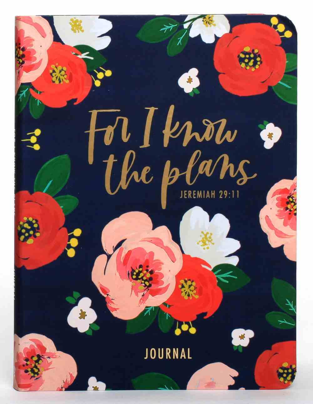 Signature Journal: For I Know the Plans, Navy/Orange Floral (Multiple Scriptures) Imitation Leather