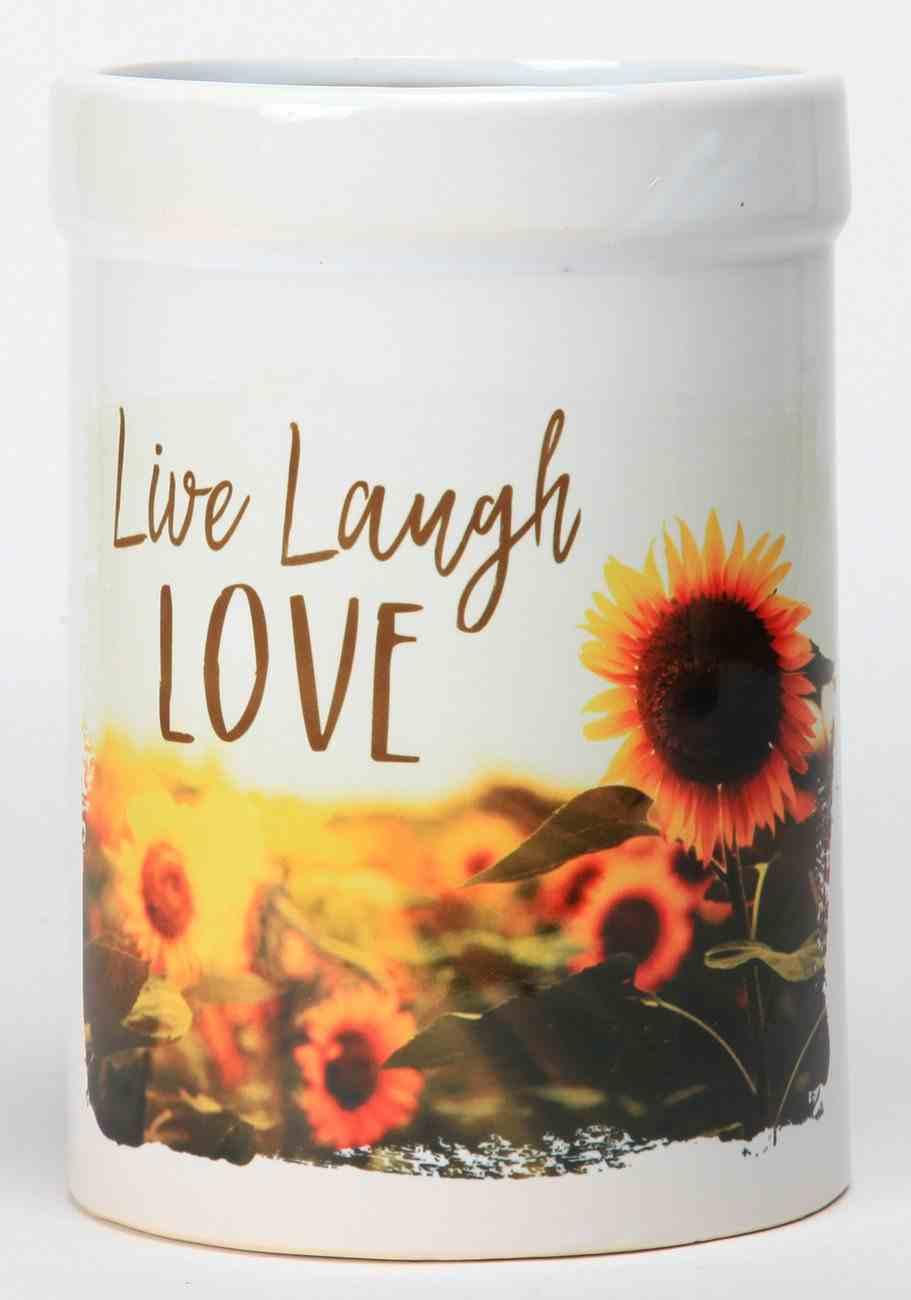 Ceramic Utensil Crock: Live, Laugh, Love, Sunflowers Homeware