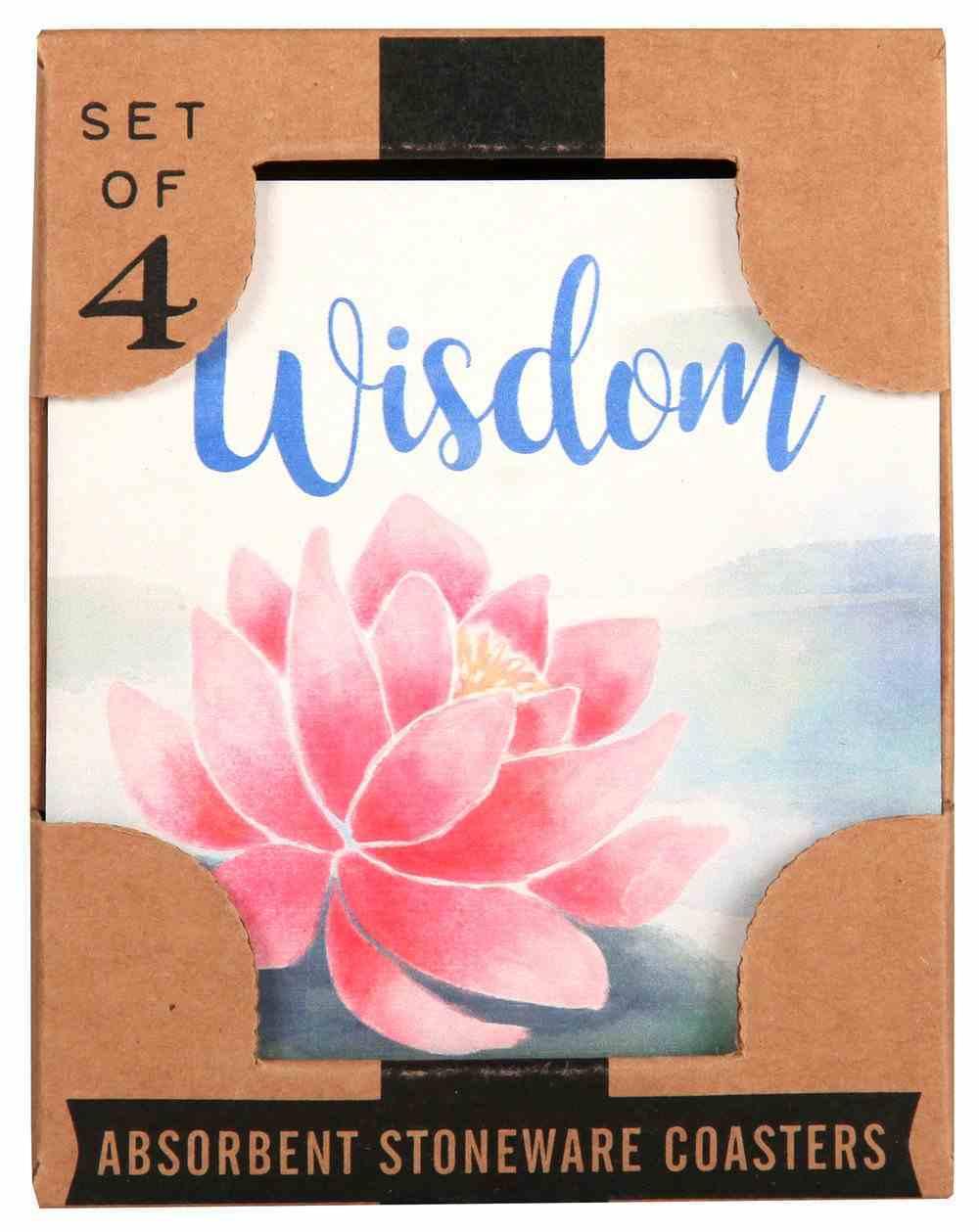 Ceramic Square House Coaster Set of 4: Serenity Prayer/Pale Floral Homeware
