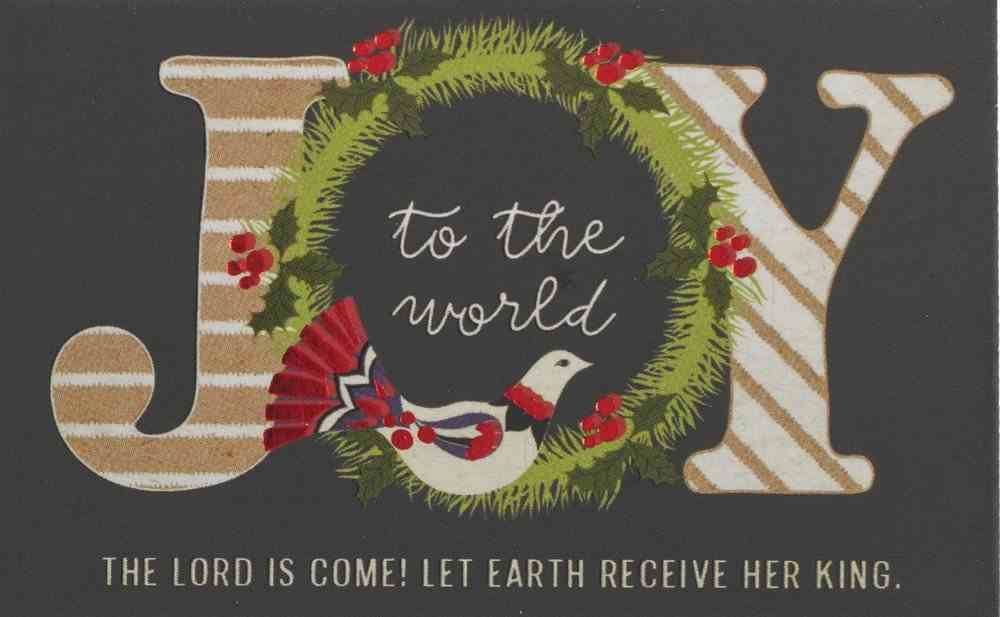 Joy to the World , Green Wreath/Gold Wording (25 Pack) (Christmas Pass-around Cards Series) Cards