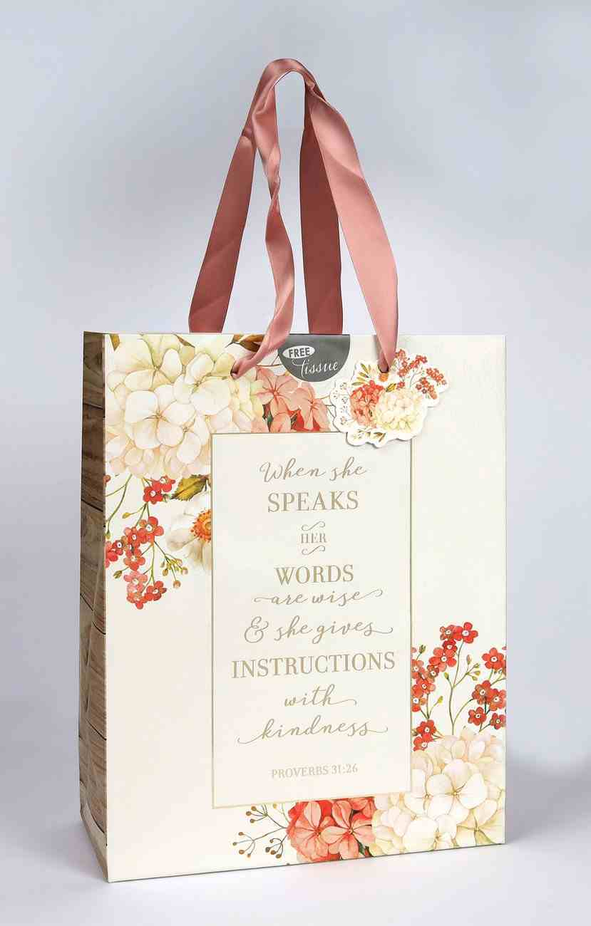 Gift Bag, Medium White and Peach Floral, Includes Tissue Paper and Gift Tag (Proverbs 31: 26) (When She Speaks Collection) Stationery