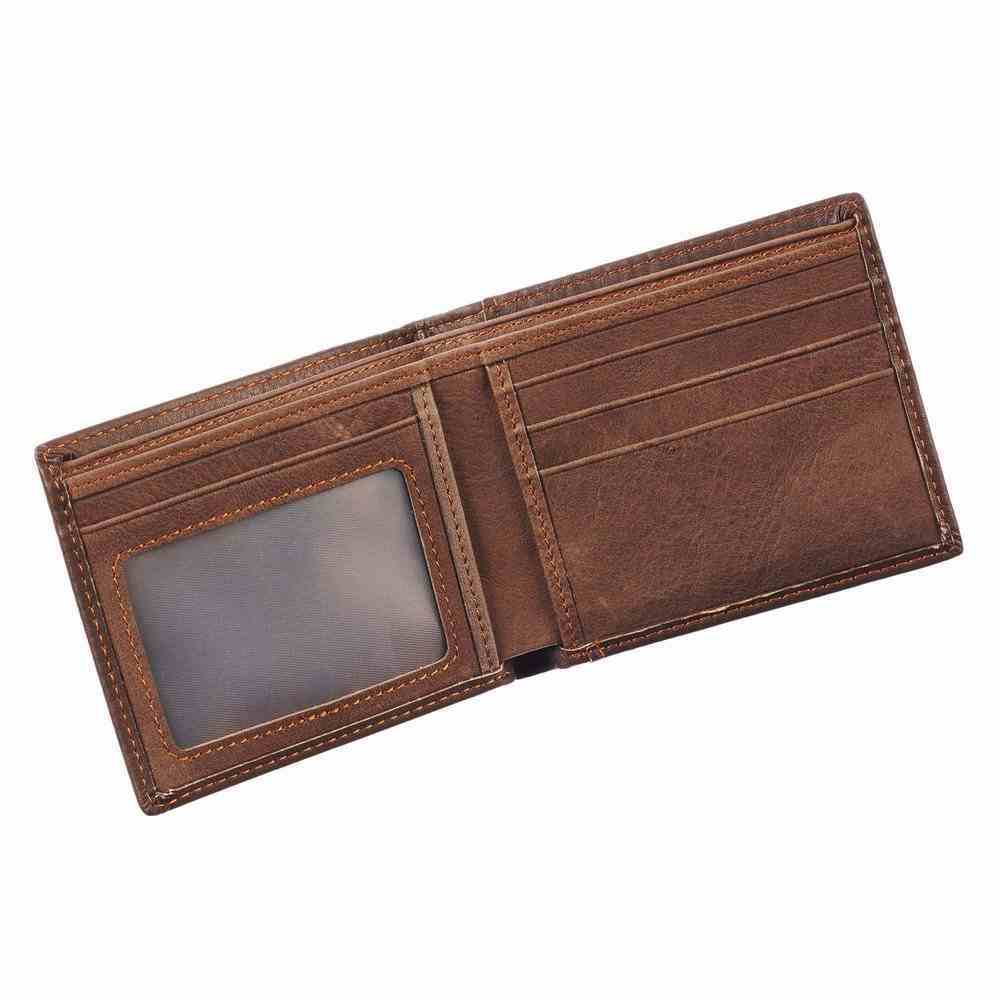 Wallet Brown, 2 Section, Bi-Fold (Jer 17: 7) (Blessed Man Collection) Genuine Leather