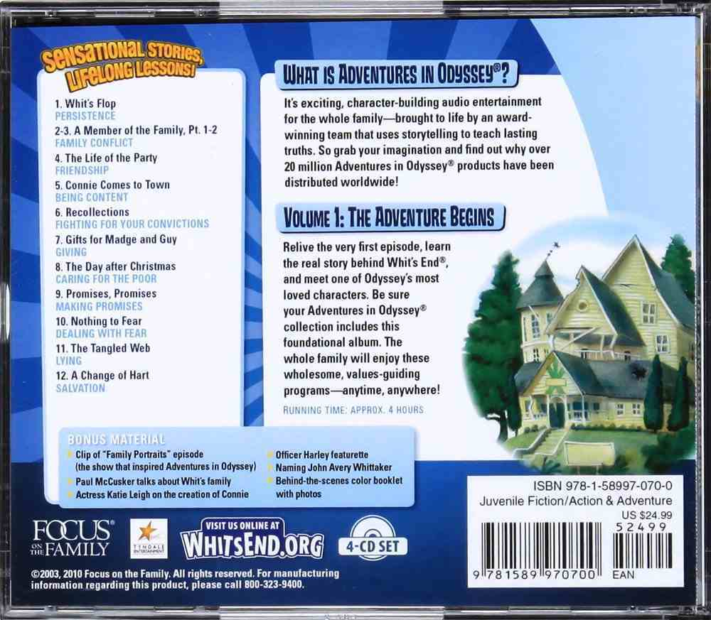 The Adventure Begins (#01 in Adventures In Odyssey Gold Audio Series) CD