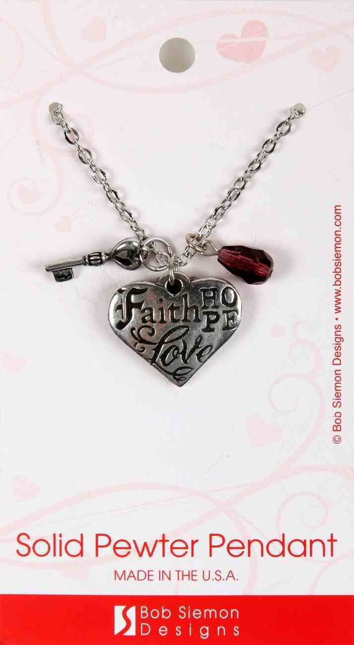 Necklace: Faith, Hope, Love.. Heart With a Key Charm and a Purple Bead (1 Cor 13:13) Jewellery