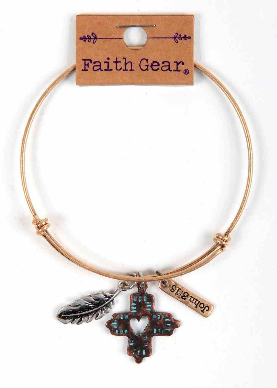 Women's Faith Gear Bracelet: Feathers, Cross, Copper Wire Jewellery