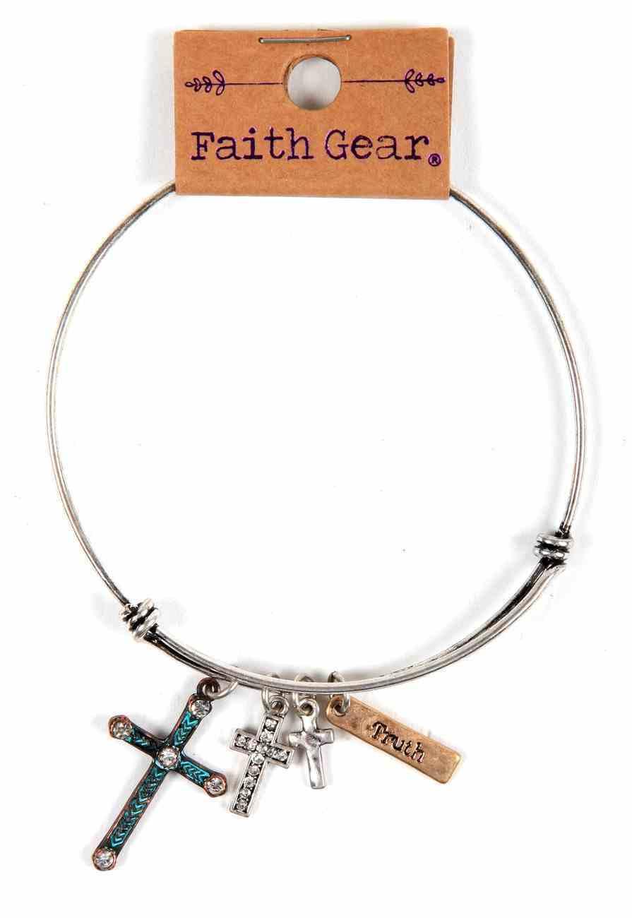 Women's Faith Gear Bracelet: Mixed Crosses, Silver Wire Jewellery
