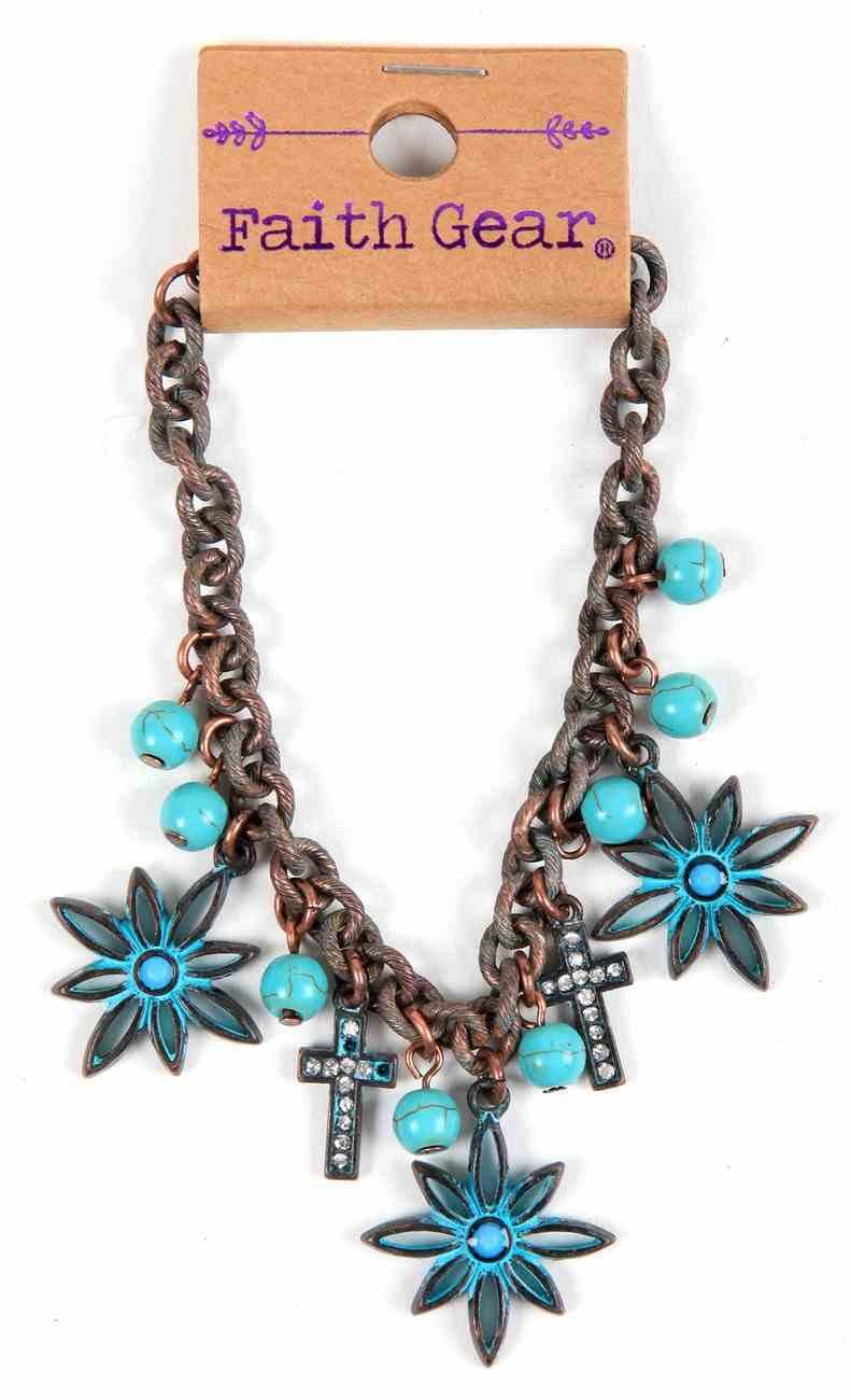 Women's Faith Gear Bracelet: Flower Cross, Copper With Turquoise Beads Jewellery