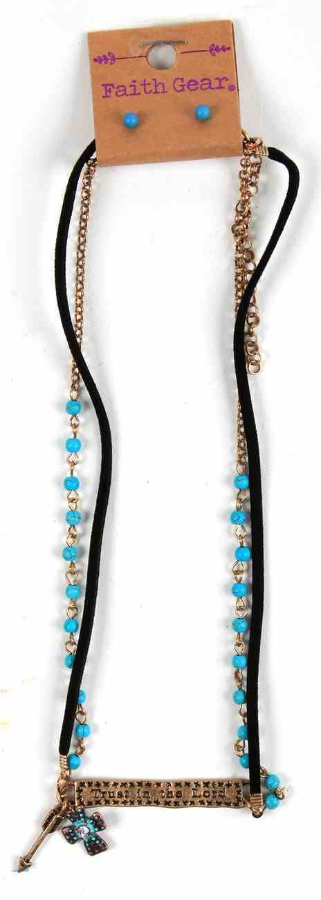 Women's Faith Gear Bar Necklace: Trust in the Lord, Turquoise Semiprecious Stones, Matching Pair of Stud Earrings Jewellery