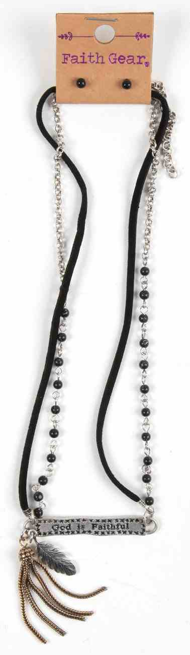 Women's Faith Gear Bar Necklace: God is Faithful, Black Semiprecious Stones, Matching Pair of Stud Earrings Jewellery