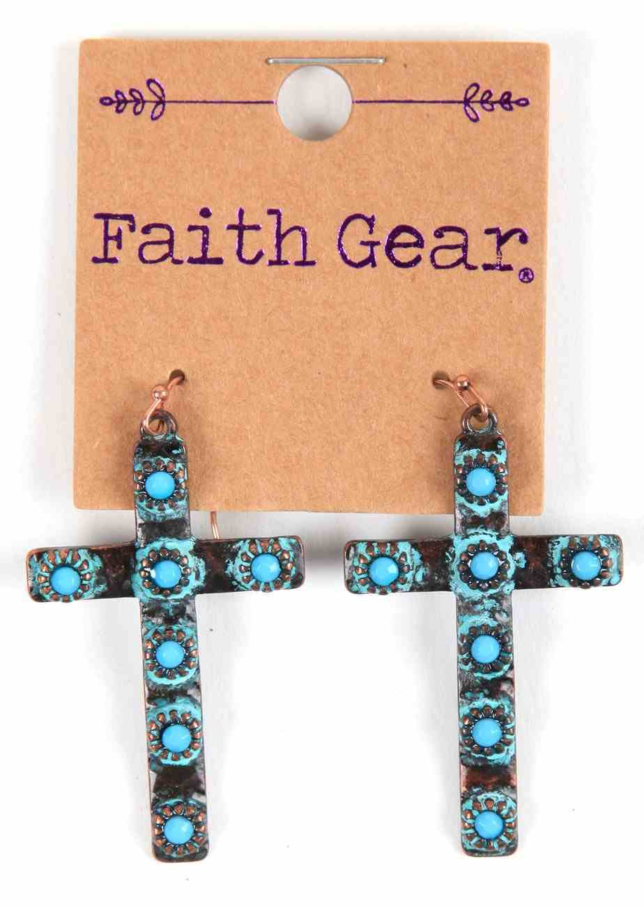 Women's Faith Gear Earrings: Copper Crosses With Turquoise Beads Jewellery