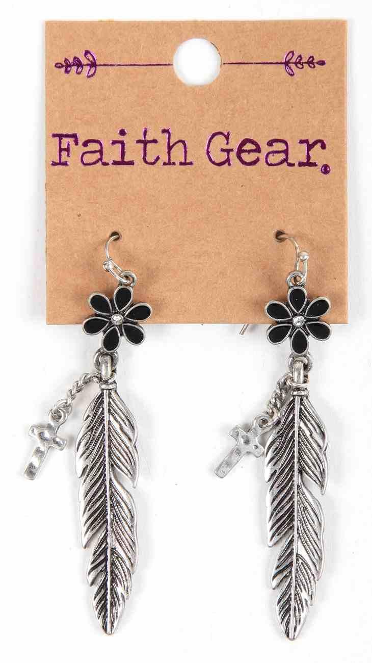 Women's Faith Gear Earrings: Flower, Feather, Cross (Antique Silver) Jewellery
