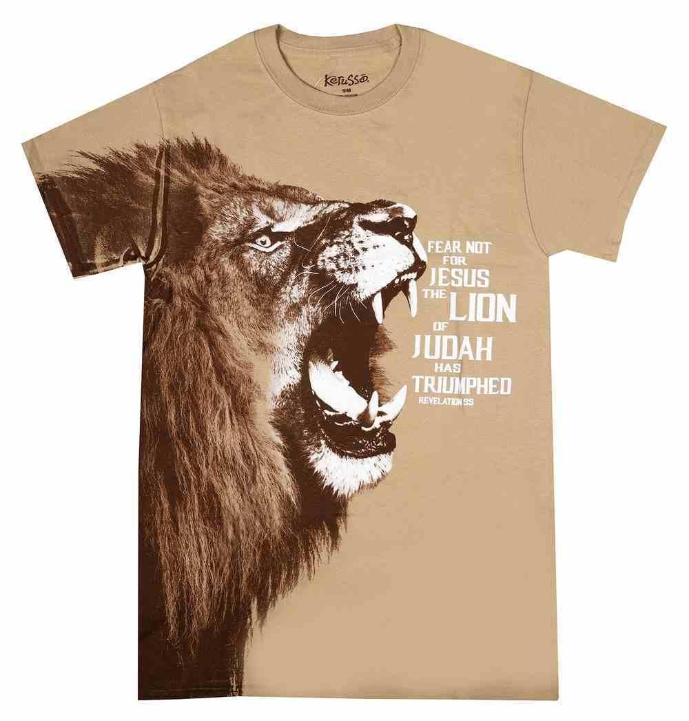 T-Shirt Fear Not: Lion Large Brown (Rev 5:5) Soft Goods