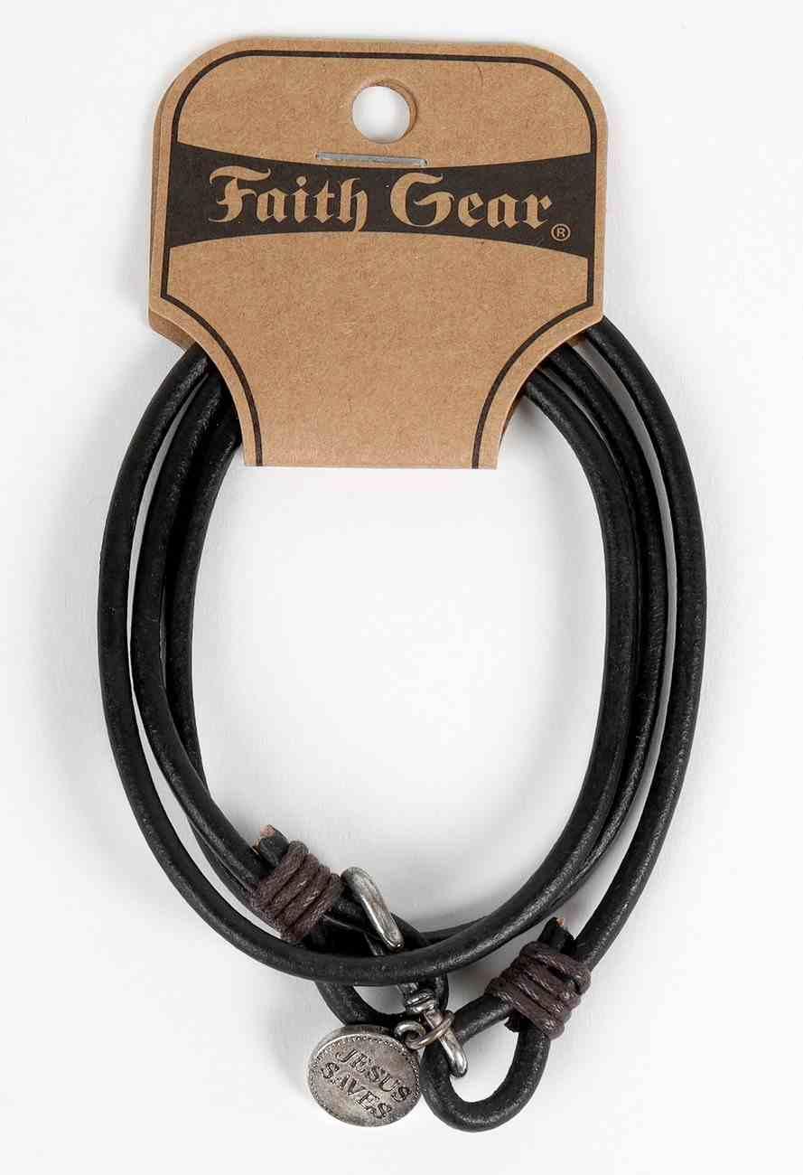 Men's Faith Gear Leather Bracelet: Hook Wrap, Jesus Saves Jewellery