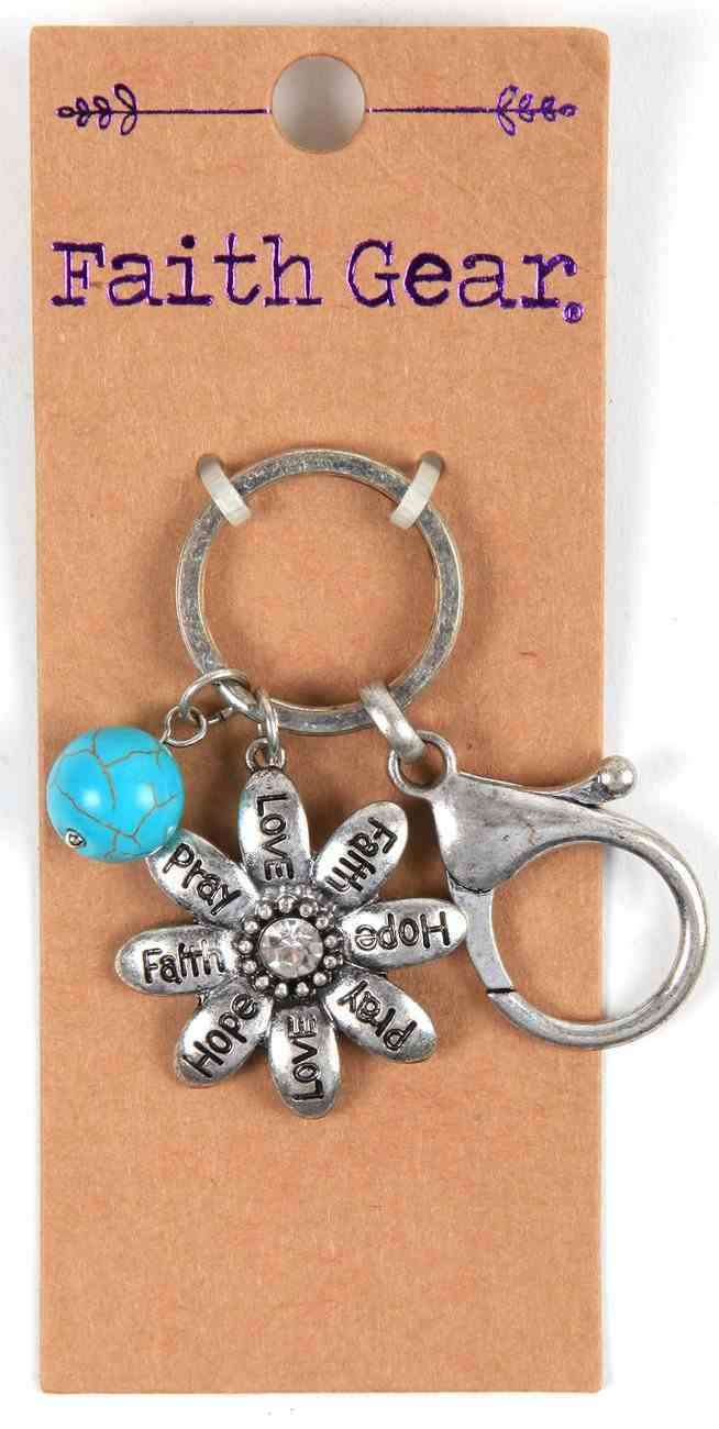 Women's Faith Gear Keyring: Flowers, Aged Silver With Turquoise Bead Novelty