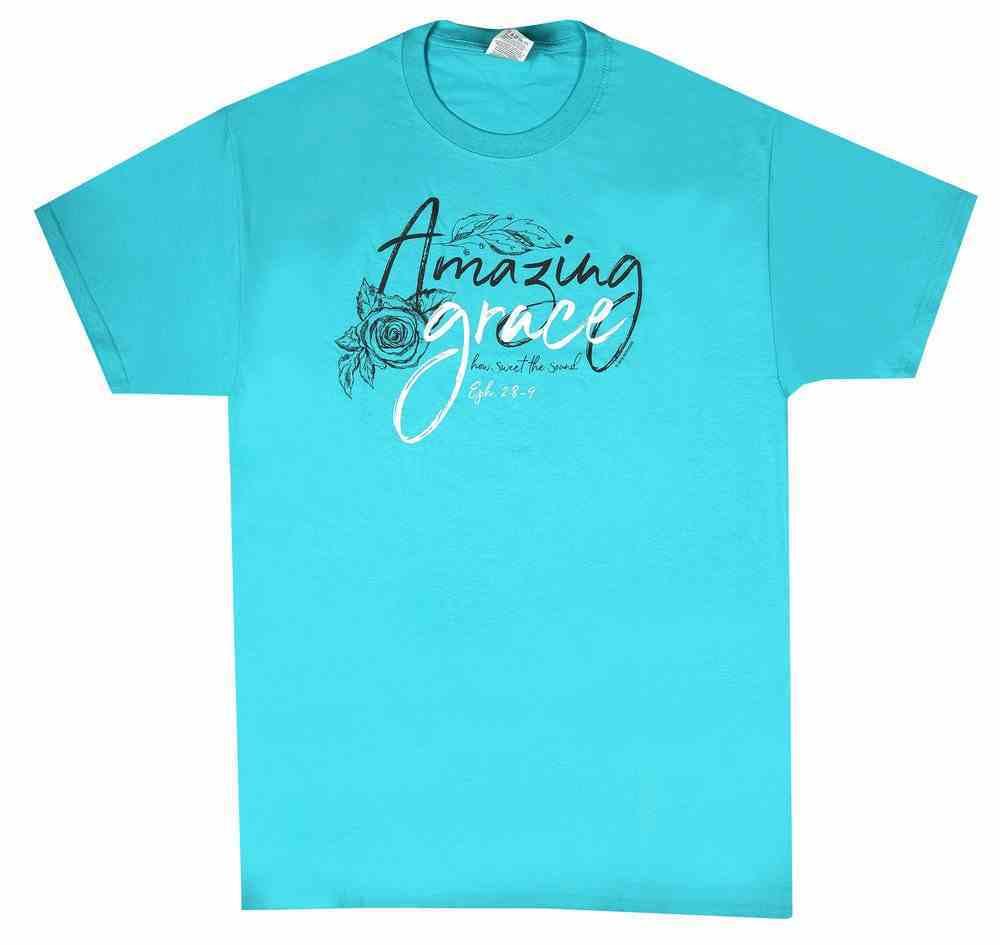 Women's T-Shirt: Amazing Grace Medium, Aqua (Ephesians 2:8-9) Soft Goods