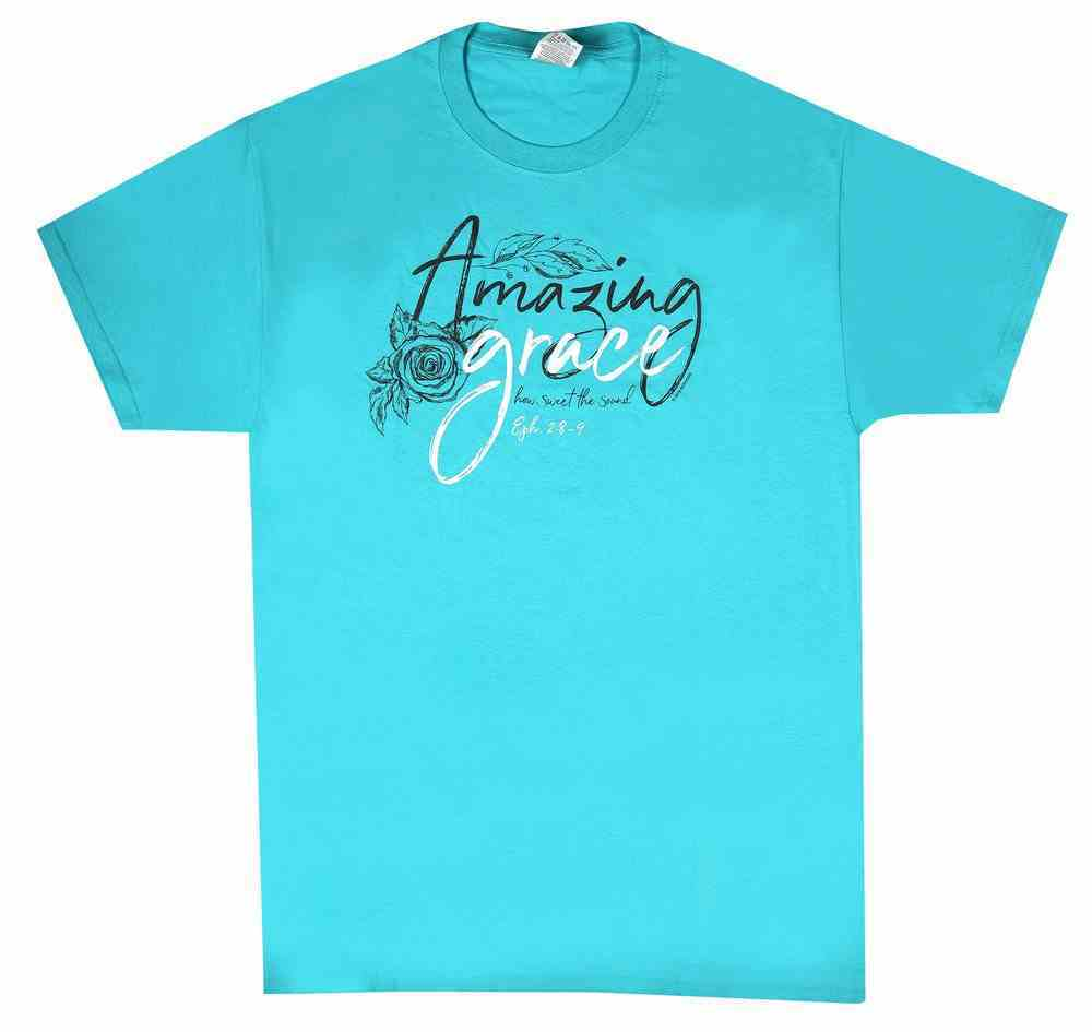 Women's T-Shirt: Amazing Grace Large, Aqua (Ephesians 2:8-9) Soft Goods
