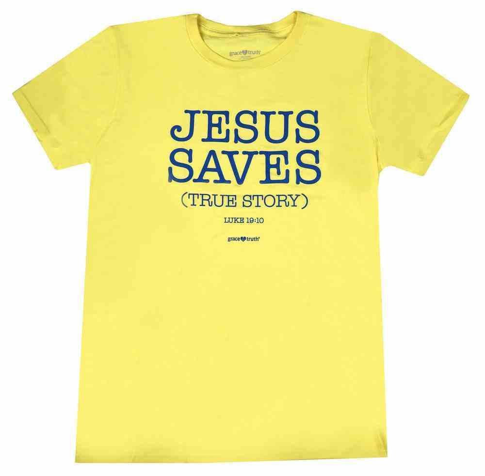 True Story, Large, Spring Yellow (Luke 19: 10) (Grace & Truth Womens T-shirts Series) Soft Goods