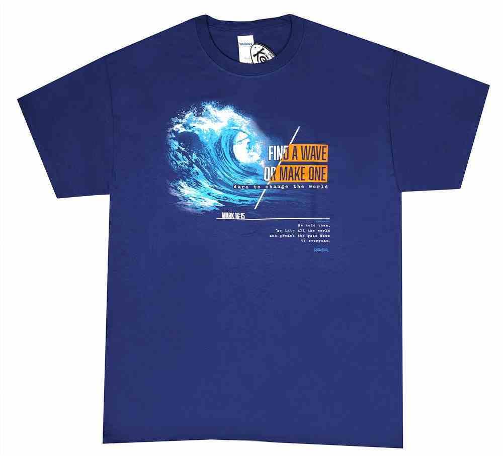 T-Shirt: Make Waves, Large, Metro Blue Soft Goods