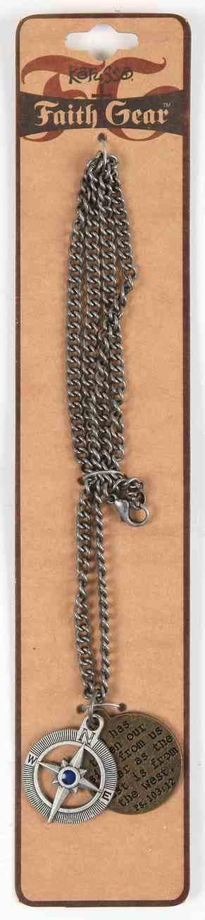 Men's Faith Gear Necklack: Compass , Silver Chain (Silver) Jewellery