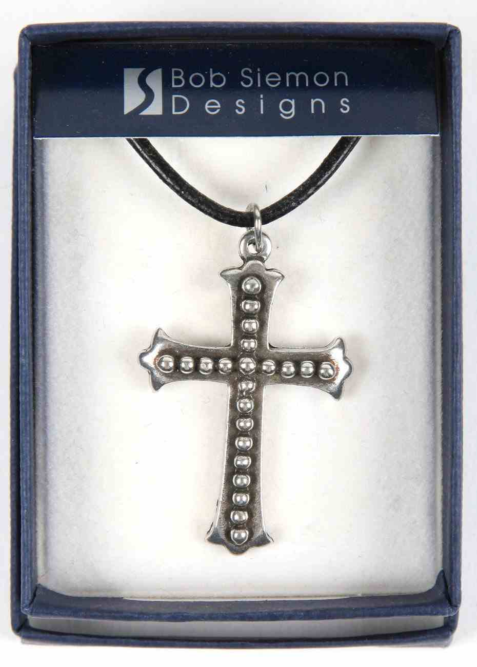 Pendant: Cross Studded Flared Ends (Pewter) Jewellery