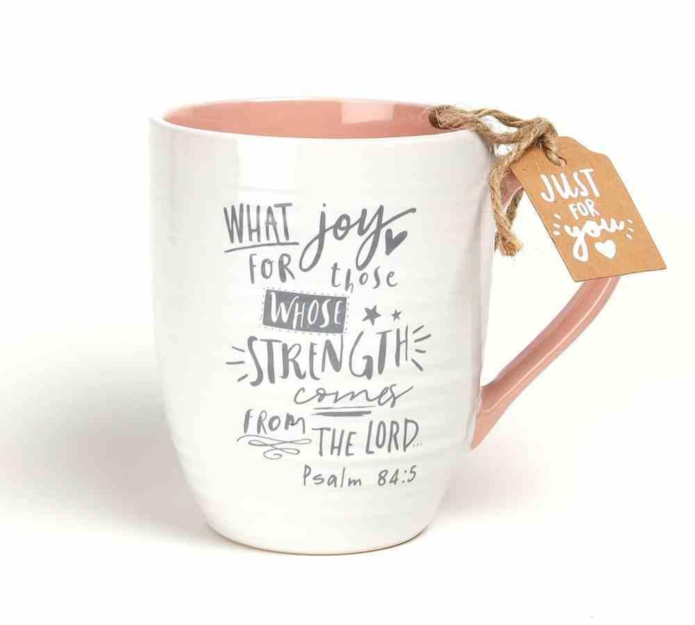 Ceramic Mug : Cup of Joy (Psalm 84:5) Pink (414ml) (Scripture Ink Series) Homeware