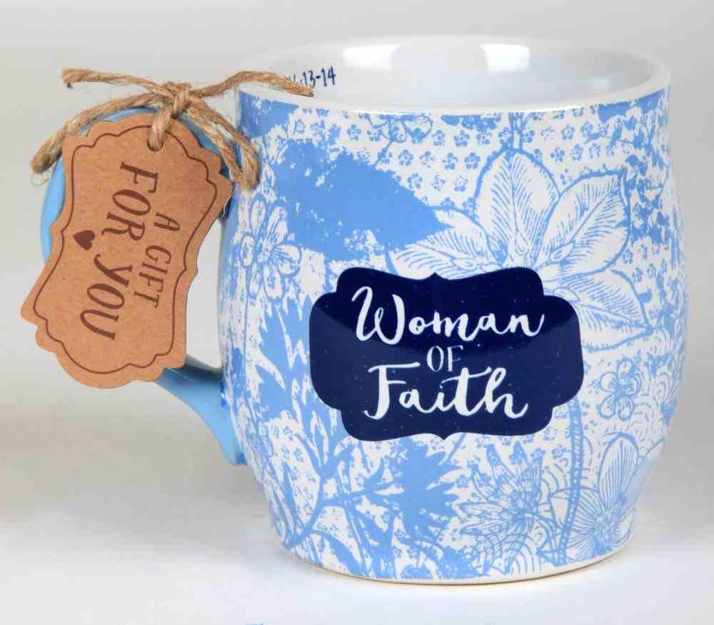 Ceramic Mug Pretty Prints: Woman of Faith, Light Blue/White (1 Corinthians 16:13-14) Homeware