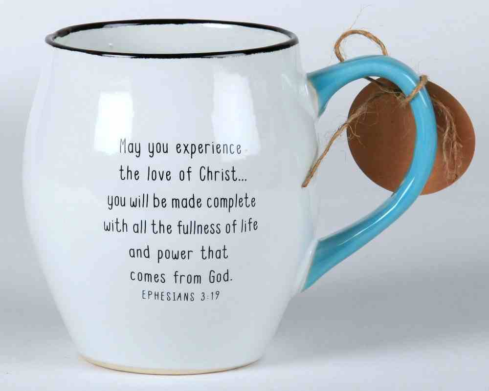 Ceramic Mug Touch of Color: Loved Beyond Words, White/Light Blue/Black, Ephesians 3:19 Homeware