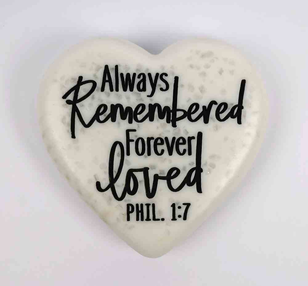 Stone Heart Plaque: Remembered...Loved Engraved (Phil 1:7) Homeware