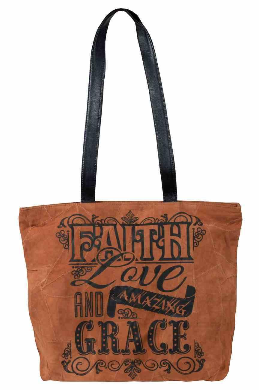 Leather Tote Bag: Faith Love and Amazing Grace, 40Cm X 32Cm, Handle 32Cm Long Homeware