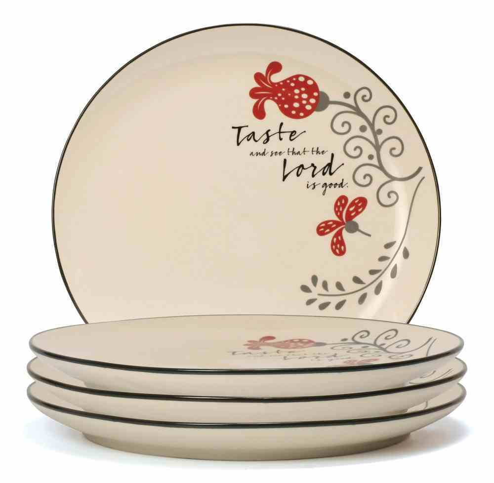 Ceramic Dinner Plate Set of 4: Taste & See That the Lord is Good, White/Red/Black (Scribbles Kitchen Collection) Homeware
