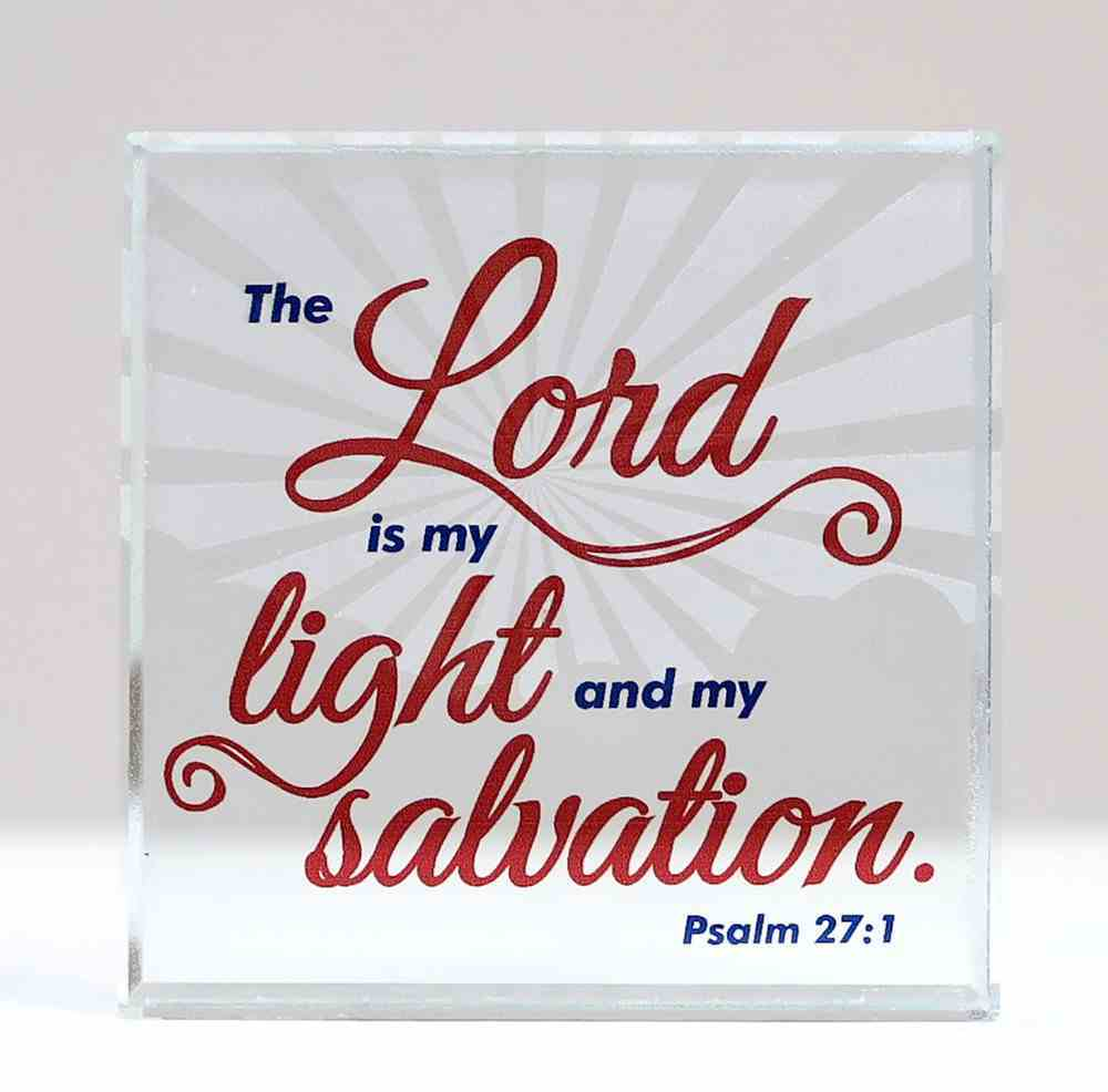 Scripture Glass Plaque: The Lord is My Light and My Salvation (Psalm 27:1) Plaque