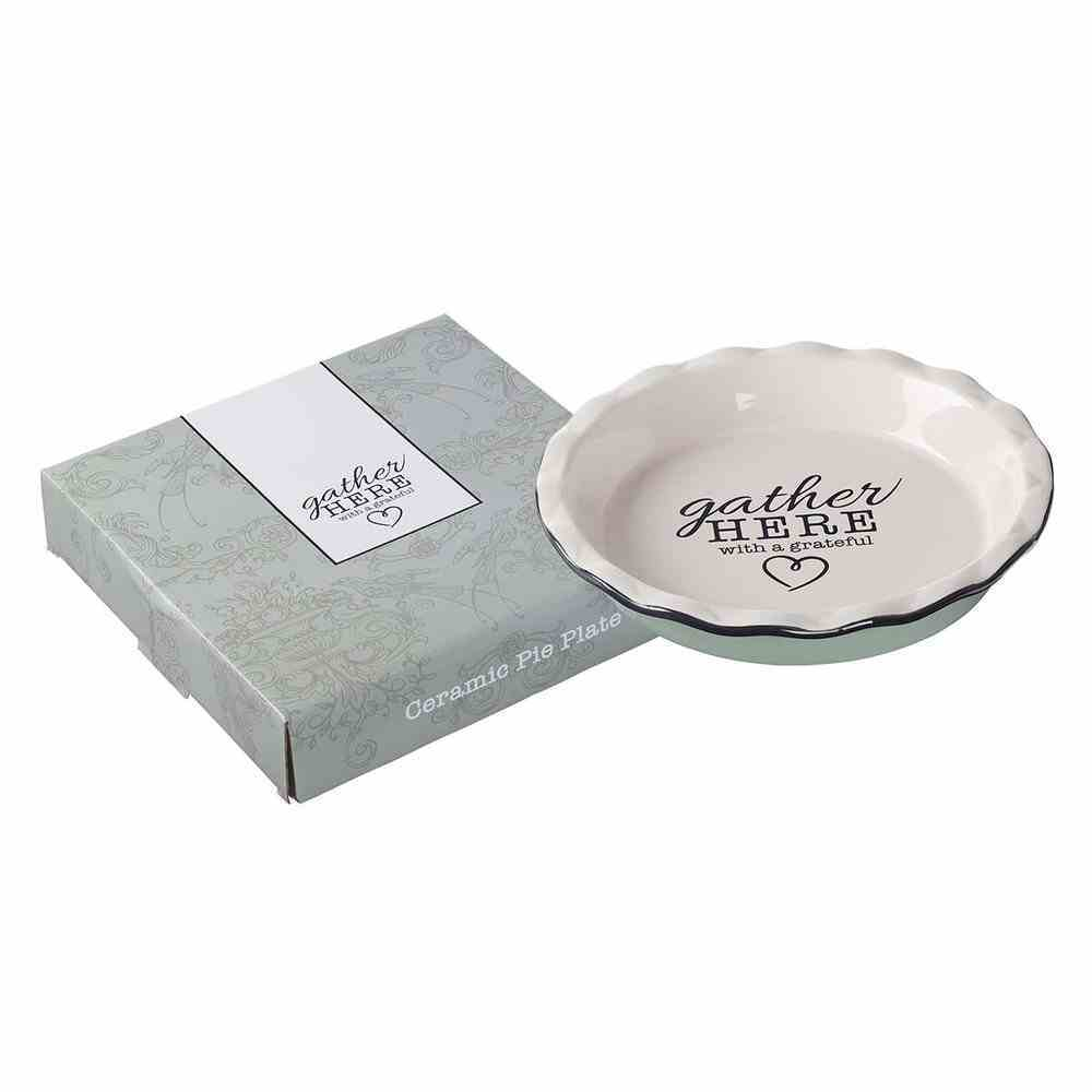 Ceramic Pie Plate: Gather Here, Glazed With Fluted Edge (Gather Here Collection) Homeware