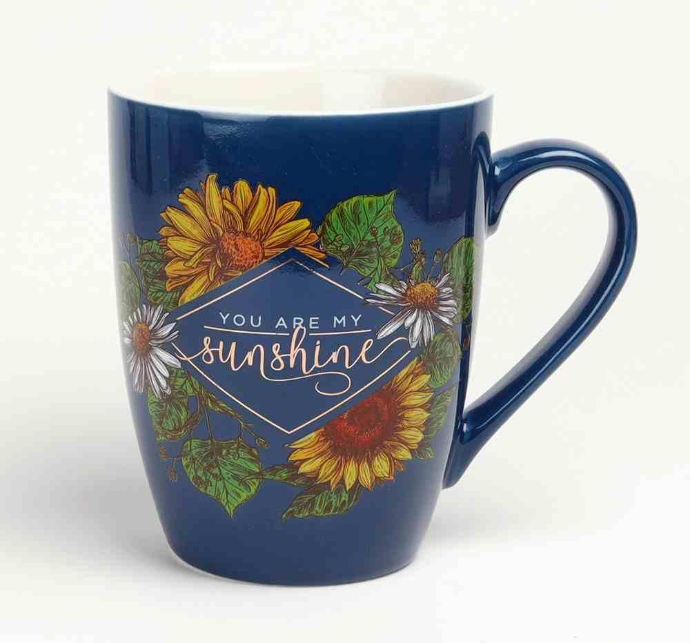Ceramic Mug: You Are My Sunshine, Navy/Yellow Flowers (355ml) Homeware