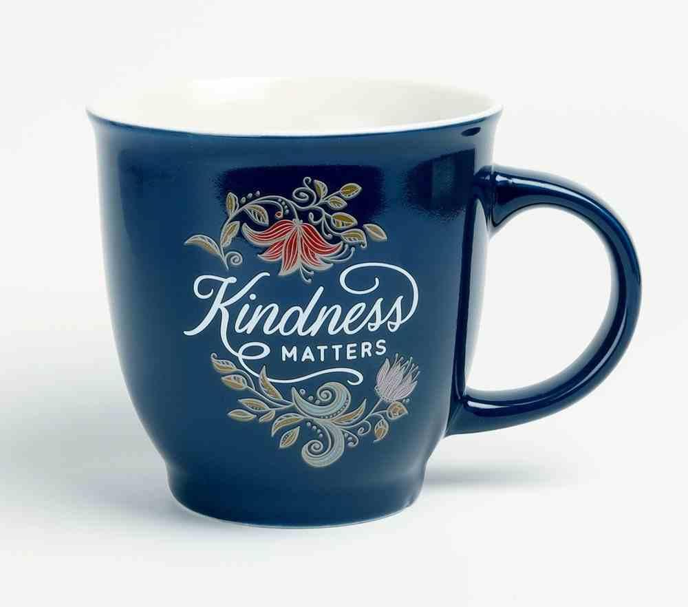 Ceramic Mug Kindness Matters, Navy Floral (414ml) (Kindness Matters Collection) Homeware