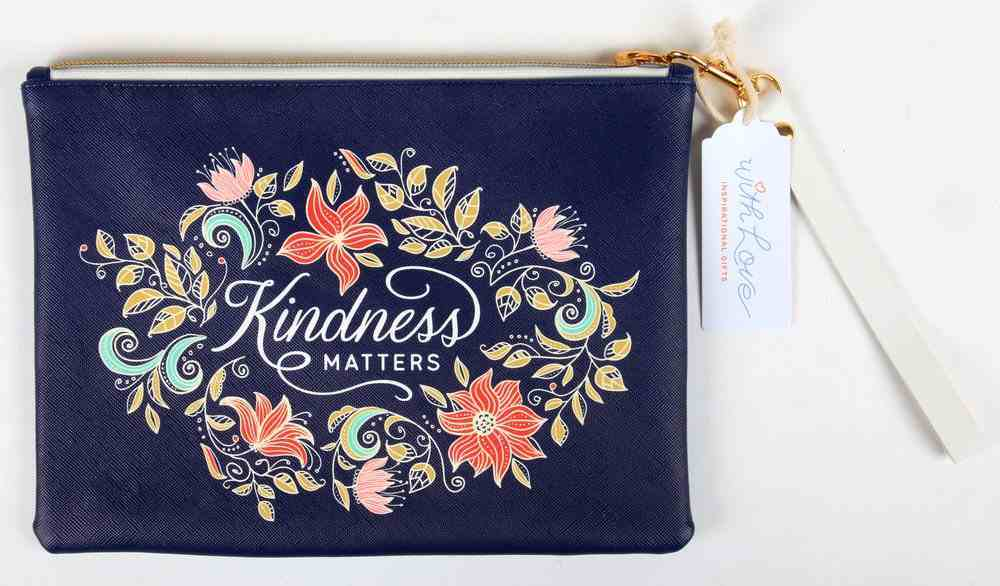 Zipper Pouch- Kindness Matters, Navy Floral Faux Leather (Kindness Matters Collection) Imitation Leather