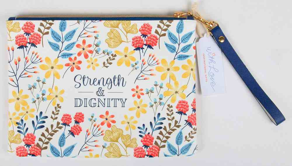 Zipper Pouch: Strength & Dignity, White/Yellow/Red/Blue Floral Imitation Leather