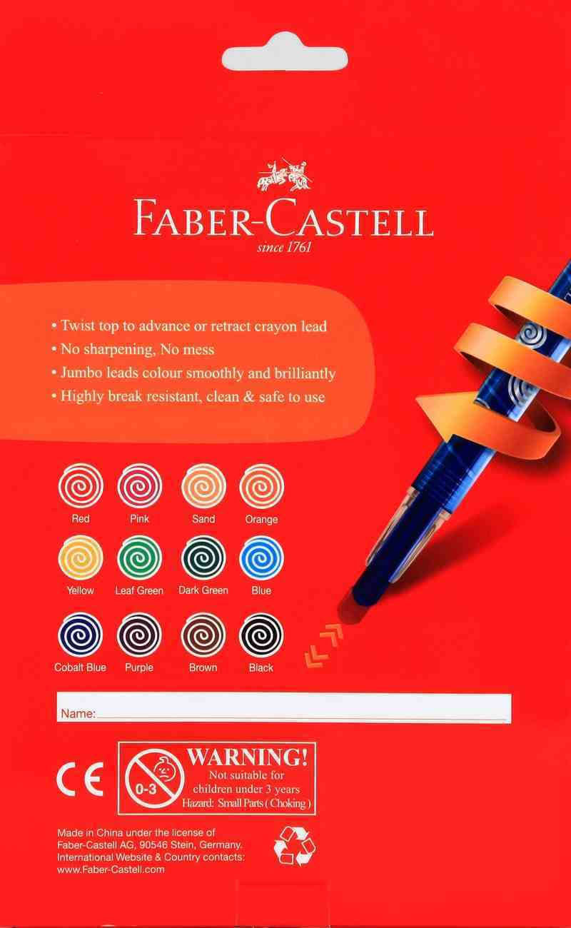 Faber-Castell Junior Triangular Twist Crayon 10Mm Box of 12 Stationery