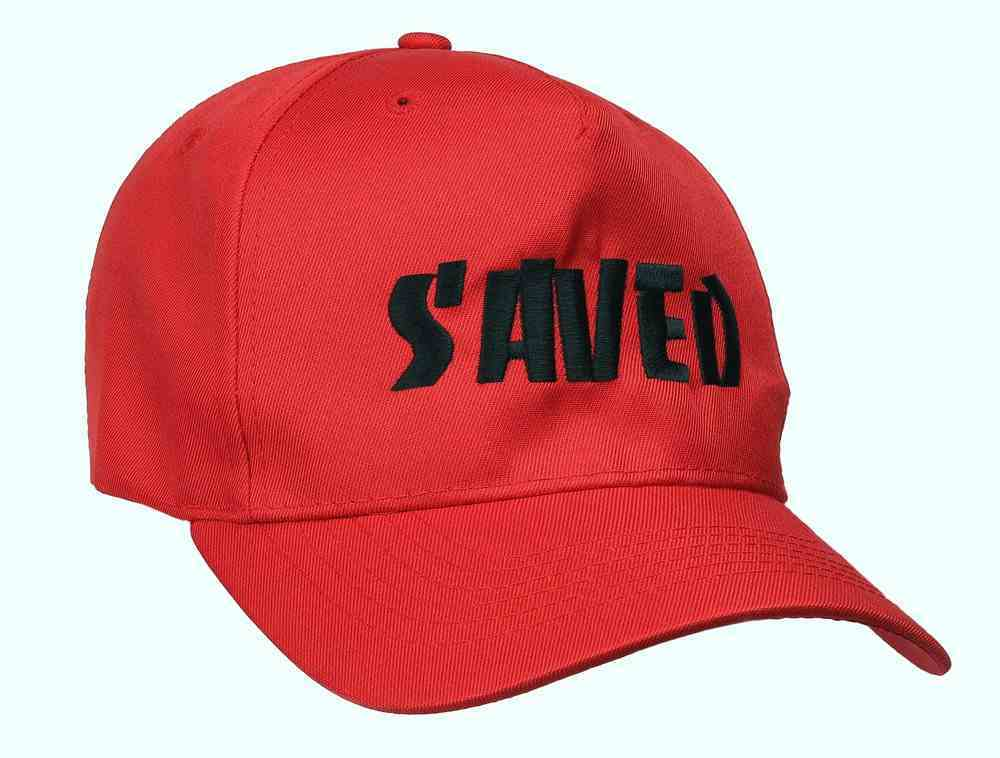Baseball Cap: Saved Red With Black Print Soft Goods
