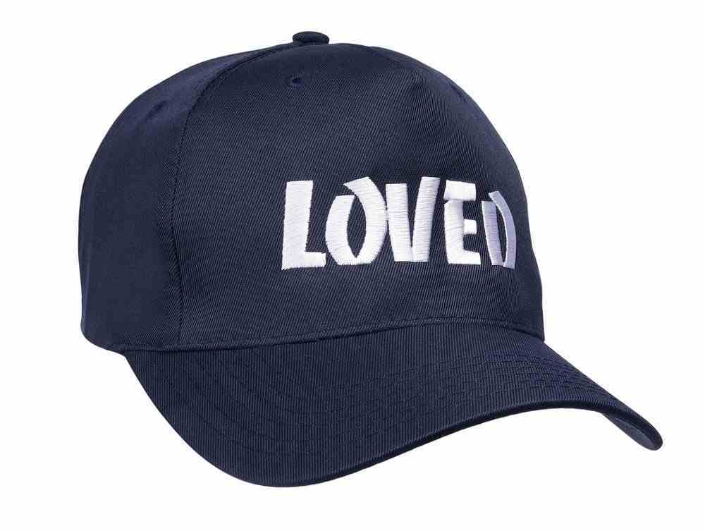 Baseball Cap: Loved Navy Blue With White Print Soft Goods