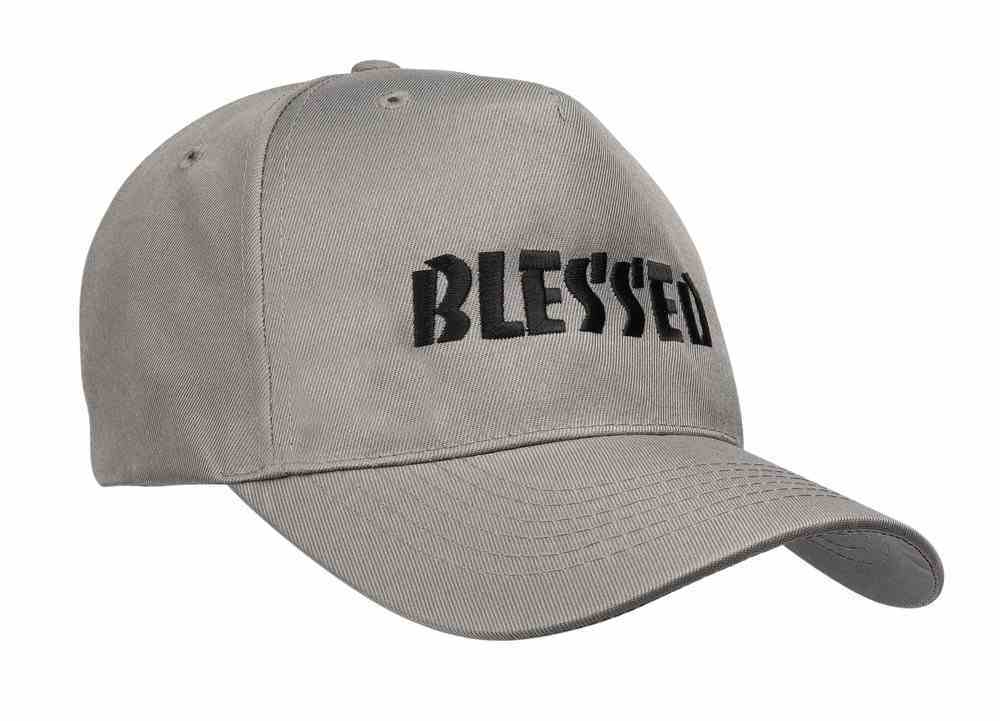 Baseball Cap: Blessed Grey With Black Print Soft Goods