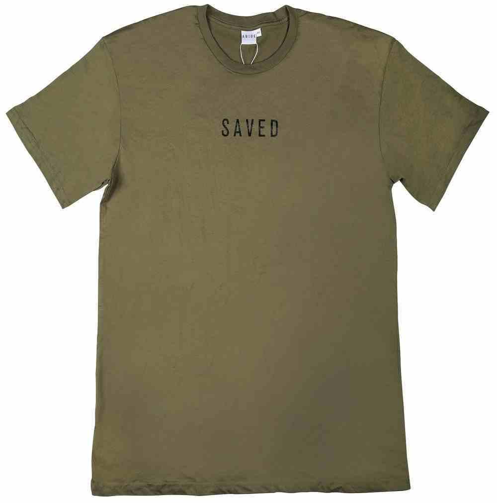 Mens Staple Tee: Saved, Small, Army With Black Print (Abide T-shirt Apparel Series) Soft Goods