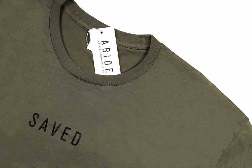 Mens Staple Tee: Saved, Xlarge, Army With Black Print (Abide T-shirt Apparel Series) Soft Goods