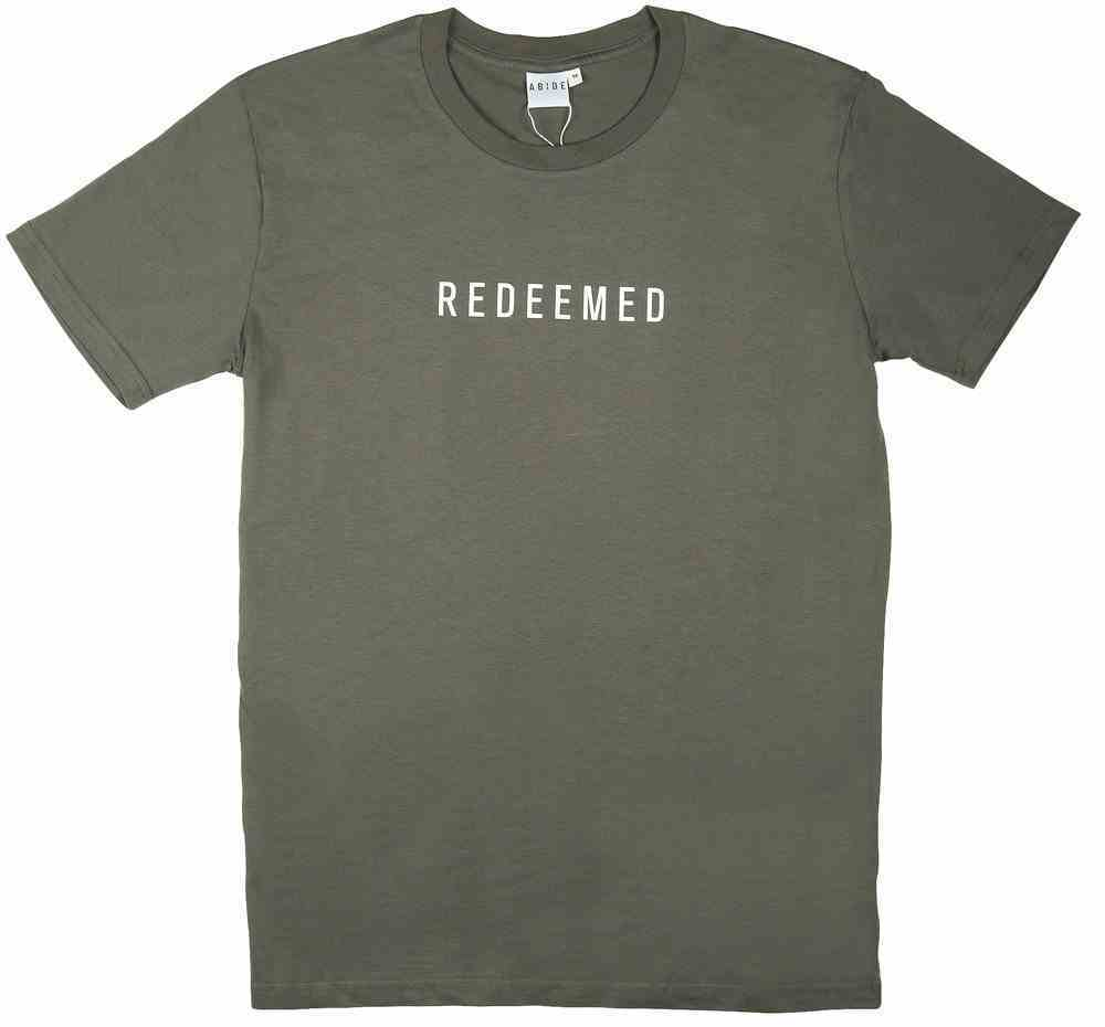 Mens Staple Tee: Redeemed, Medium, Charcoal With White Print (Abide T-shirt Apparel Series) Soft Goods