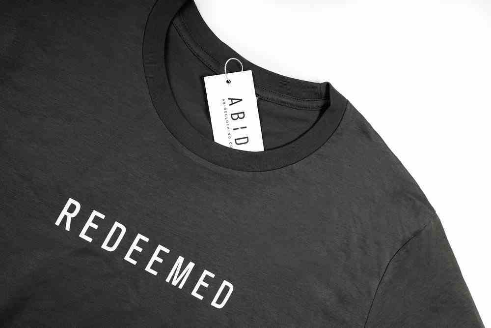 Mens Staple Tee: Redeemed, Large, Charcoal With White Print (Abide T-shirt Apparel Series) Soft Goods