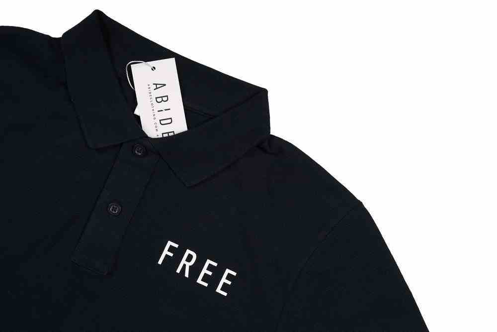 Mens Pique Polo: Free, Small, Navy With White Print (Abide T-shirt Apparel Series) Soft Goods